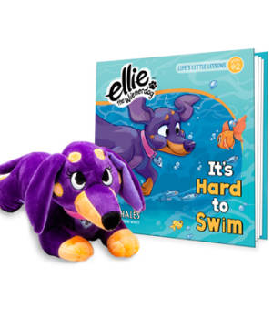 Ellie the Wienerdog It's Hard to Swim Book and Plushie Gift Set